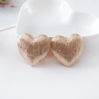 Wholesale Love Wire Earring - Retail! New Fashion love hearts ear clip wire drawing effect contracted girl valentine's day gift earrings jewelry