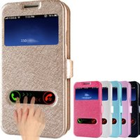 Wholesale S4 Case Window Card - Luxury card slot phone case for galaxy note 2 3 s4 s5 silk pattern PU leather 2 window Protective cover flip holder defender case DHL GSZ323