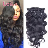 Wholesale brazilian body wave clip hair extensions - Clip In Human Hair Extensions Full Head Natural Black Hair Clip Or Pieces Body Wave Brazilian Hair Clip in Extensions