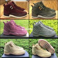 Wholesale Hiking Ny - Retro 12 PSNY Wheat Mens Basketball Shoes Sneakers Retros 12s Public School NY Men Bordeaux Wheat Purple Green Sports Shoes Boost US 8 - 13