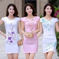 Wholesale Hand Made Chinese Dress - 2017 Charming Embroidered Lace Qipao 2015 Hot Popular Chinese Traditional Dress Silk By Hands Made Beautiful Chinese Cheongsam Qipao