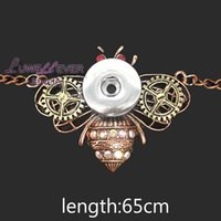 Wholesale Silver Chains For Men 12mm - high quality bee 072 Women's Vintage 12mm 18mm snap button necklace bohemian necklaces pendants DIY Jewelry for women men