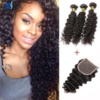 Wholesale Deep Wave Closure Bundles - Virgin Brazilian Deep Curly Virgin Hair Extensions 3 Bundles Human Hair Bundles With Lace Closure Kiss Hair Fashion Style