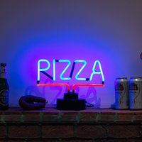 vraies pizzas achat en gros de-New Blue Color PIZZA Handicrafted Real Glass Tube Neon Table Light Beer Lager Bar Pub Table Sign Neon Light Sculpture Lampe de table