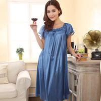 Wholesale Sleep Dresses For Women - Wholesale- Loose large size nightgowns for women long stlye nightwear nightdress solid silk sleepshirt summer dress sleep tops pijama mujer