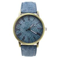 Wholesale H4 Color - Wholesale- Simulation cowboy cloth Relojes Quartz women Men Watches canvas Color Leather Strap Wristwatch clocks Relogio Masculino H4