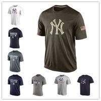 Wholesale New Men Tshirts - MLB Mens New York Yankees T-Shirts 2017 Baseball Jerseys Tshirts Big & Tall Banner Salute To Service Navy Blue Black Grey Green