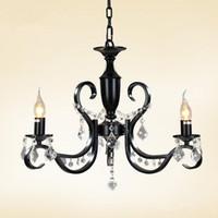 Wholesale crystal candle lamps - Modern 3-light Black Iron Chandelier Candle Light Restaurant Dining Room Living Room Crystal Chandeliers Black Pendant Lamp E14 Led Bulb