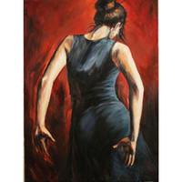 schöne frau ölgemälde großhandel-Schöne Ölgemälde tanzende Frau spanische Flamenco-Tänzer Tango schwarz und blau Kleid Öl auf Leinwand Hohe Qualität handbemalt