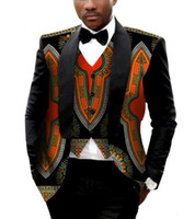 Wholesale Blazer Contrast - Brand Clothing African Clothes Mens Printed Blazer Men Jacket + Vest Fashion Slim Suits Dashiki Men Large Size 6XL Blazer WYN176