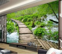 Wholesale mediterranean landscaping paintings resale online - 3d room wallpaper custom photo Small bridge water background wall landscape decor painting d wall murals wallpaper for walls d