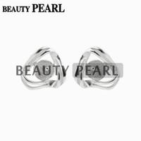 Wholesale Earrings Blank Stud - 10 Pairs Stud Earring Findings 925 Sterling Silver Pearl Settings Blank Earring Base DIY Jewelry Making
