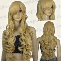 Wholesale Wavy 33 Inch Wig - 33 inch Hi_Temp Series Beige Blonde Curly wavy Long Cosplay DNA Wigs 96786 FREE SHIPPING