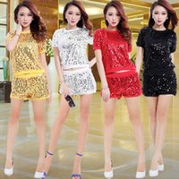 Wholesale Sexy Hip Hop Dance Wear - Women Sequins Jazz Dance Costume Ladies Hip Hop Dance Wear Sexy Stage Performance Clothing Set Short Sleeve Top+Shorts W722