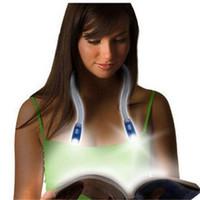 ce kitabı toptan satış-Esnek Ayarlanabilir Eller serbest 4 LED'li Boyun Işık Huglight Kitap Okuma Lambası Hug Işık Yenilik gece Aydınlatma LED