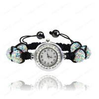 Wholesale Disco Balls Watches - Wholesale-Crystal Watch Jewelry 10mm Crystal AB Clay Disco Ball Crystal Bracelet Watch Bracelet Bangle Mix Colors Free Shipping SHBR-021