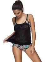 Wholesale Ladies Black Teddy - Wholesale Sexy Women Retro Print Cami Padded Teddy Swimwear With Mesh Cover Top Adjustable Straps Ladies Beachwear Plus Size Tankinis Set