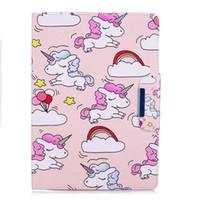 bling fälle für ipad mini großhandel-magnetische intelligente Abdeckung Tabelle Ledertasche Marmor Einhorn Flamingo Malerei Bling für Ipad Pro 9.7 2017 Ipad Mini Air 2 3 4 Samsung Tab T815