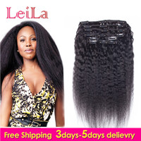 tissu humain de cheveux humains yaki achat en gros de-Les cheveux humains péruviens 7Pieces SET Kinky Straight Clip In Human Hair Extensions Natural Black Coarse Yaki Human Hair Weaves