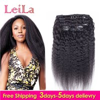 Wholesale Coarse Yaki Straight Weave - Peruvian Human Hair 7Pieces SET Kinky Straight Clip In Human Hair Extensions Natural Black Coarse Yaki Human Hair Weaves