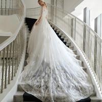 train de balle de mariage en mariage coréen achat en gros de-Blanc robe de bal 2017 princess bateau 1/2 manches 80 cm de sol-longueur balayage train creux élégant coréen mariée robe de mariée