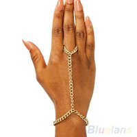 Wholesale Heavy Hand Cuffs - Wholesale-Women Heavy Metal Bracelet Bangle Slave Chain Link Finger Hand Harness Gold