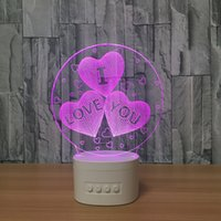 Wholesale Heart Touch Love - 3D Love You LED Illusion Lamp Bluetooth Speaker with 5 RGB Lights TF Card Slot DC 5V USB Charging Wholesale Dropshipping