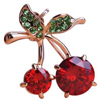 Wholesale Cherry Shiny - Wholesale- Wholesale Red Cherry Brooch Rhinestone Crystal Shiny Gold-color Small Pins Broach Jewelry broche Coat Cardigan Clips Pins