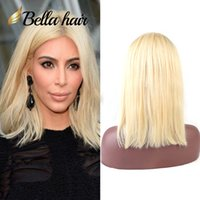 "Wholesale Lace Front Wigs Color 613 - 613 Wig Human Hair Bob Wigs Full Lace Blonde Wigs Can Be Dyed Short Cut Bob Natural Straight 10""12"" Bella Hair"