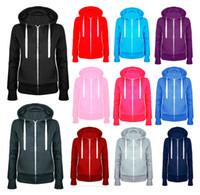 Wholesale long zip up hoodies - 2017 New Ladies Women Plain Zip Up Hooded Sweatshirt Coat Zipper Jacket Top Overcoat Outerwear Hoodies 5 Colors Woman's Clothings