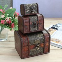Wholesale Wooden Box Lock Wholesale - 3pcs set Vintage Treasure Pearl Jewelry Storage Wood Box Organiser Flower Pattern Wooden Decor Boxes Case With Lock ZA4996