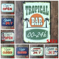 Wholesale Wholesalers For Vintage Clocks - Vintage 20*30cm Europe Iron Paintings Welcome Closing Card Tin Poster For Bar BBQ Shop Store Decoration Metal Tin Sign Popular 3 99rjcc