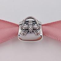 halskette handtasche großhandel-925 Sterling Silber Perlen funkelnden Handtasche Charme passt europäischen Pandora Style Schmuck Armbänder Halskette 791534CZ Einkaufstasche Geschenk