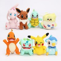 Wholesale Togepi Plush Toy - 8pcs lot plush Bulbasaur Charmander Piplup Squirtle Eevee Mew Togepi plush stuffed pendant doll toy with hook