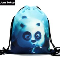 Wholesale Travel Bag Panda - Wholesale- 2016 new fashion Women Backpack 3D printing travel softback women Panda drawstring bag mens backpacks Girls Backpack 29005