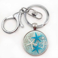 Wholesale Gifts Starfish Lovers - Starfish key rings Ocean Starfish Jewelry Nautical keychains Christmas Gift for Women for Men