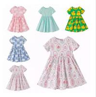 Wholesale Duck Dress Baby Girl - Kids Clothing Girls Summer Dresses Cupcake Duck Cloud Dresses Wave Stripe Print Short Sleeve Causal Dress Baby Kids Clothing Dresses J175
