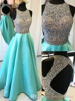 Wholesale Luxurious Halter White Lace - Backless Luxurious Sparkly 2017 Arabic Evening Dresses Crew Beaded Sequins Crystals Prom Dresses A-line Satin Formal Party Gowns
