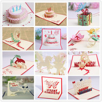 Wholesale Pop Up 3d Cards - birthday party decorations kids greeting cards birthday party favors 3D birthday pop up cards greeting card 12 styles per lot