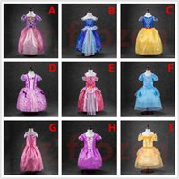 Wholesale Sleeping Beauty Dresses For Girls - Belle princess dress girl purple rapunzel dress Sleeping beauty princess aurora flare sleeve dress for party birthday in stock free ship