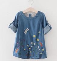Wholesale Dress Long Sleeve Kid - Korean Fashion Kids Baby Girls Long Sleeve Denim flower Dress Casual Clothes