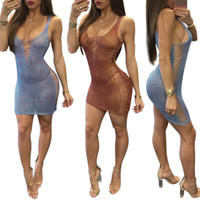 Wholesale sexy night party bar - New sexy hollow out mesh transparent short dresses of women party and night bar sexy dress to lady