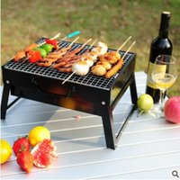 Wholesale 1pcs BBQ Grills Outdoor Household BBQ Portable Black Steel Stove Outdoor Barbecue Grill Camping Iron Wood Charcoal Stoves