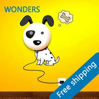 Wholesale Dog Wall Lamp - Wholesale- Discount 2016 New Wallpaper Stickers Paper Wall Lamp Novelty Kid Baby Bedroom 3D Cartoon Night Light Home Decor Dog DIY babgRoom