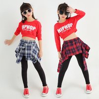 Wholesale Two Piece Dance Costumes - Girls Hip Hop Dance Costumes Red Long Sleeve Teen Girls Crop Top And Plaid Skirt Pants Two Pieces Set For Kids Children Dancewear