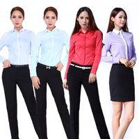 Wholesale Square Plus Size Clothing - 2017 New Fashion Shirt Women Work Wear Long Sleeve Tops Slim Women's Blouses Shirts new 4 Colors Plus size clothing Blusas Blusa