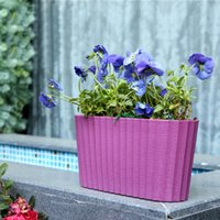 painting plastic flower pots - Paint Coating Self Watering Window Planter Tabletop Plant Pot with Water Level Indicator for Office Home Decor Oval
