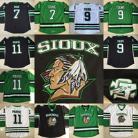Wholesale College Hockey - North Dakota Fighting Sioux Hockey Jerseys 9 Jonathan Toews #7 TJ Oshie #11 Zach Parise Fighting Sioux DAKOTA College Jersey