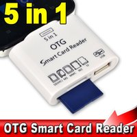 Wholesale Otg Connection - 5pcs lot EA14 5 in 1 Micro USB OTG Card Reader SD TF Card Adapter Camera Connection Kit for Samsung S5 S6 Note 4 for Sony Xperia