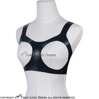 Black Sexy Latex Bra Open Bust Fetish Rubber Bras Lingerie brassieres Unisex Hot Sales New BRA-0004
